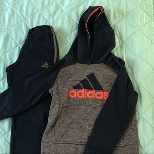 Boys Adidas set hoodie sweatpants 8 great cond